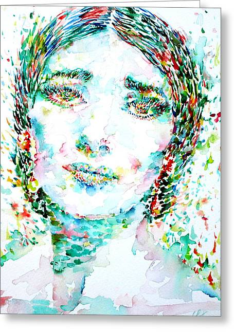 Maria Callas - Watercolor Portrait.1 Greeting Card by Fabrizio Cassetta