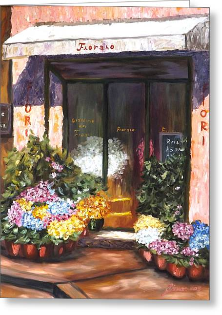 Store Fronts Greeting Cards - Maria Flower Shop Greeting Card by Gino Didio