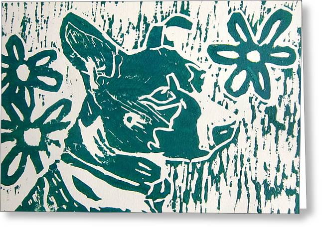 Linocut Paintings Greeting Cards - Maria Greeting Card by Marita McVeigh