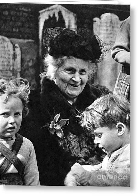 Schoolmistress Greeting Cards - Maria Montessori Greeting Card by Granger