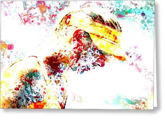 French Open Digital Greeting Cards - Maria Sharapova Paint Splatter 3p Greeting Card by Brian Reaves