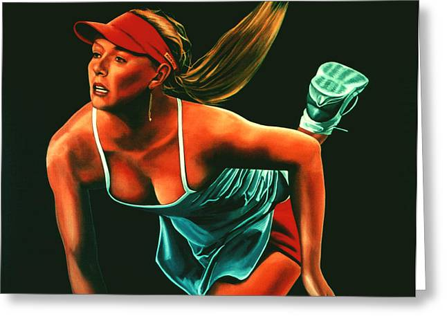French Open Paintings Greeting Cards - Maria Sharapova  Greeting Card by Paul  Meijering