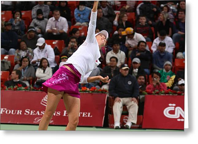 Maria Sharapova serves in Doha Greeting Card by Paul Cowan