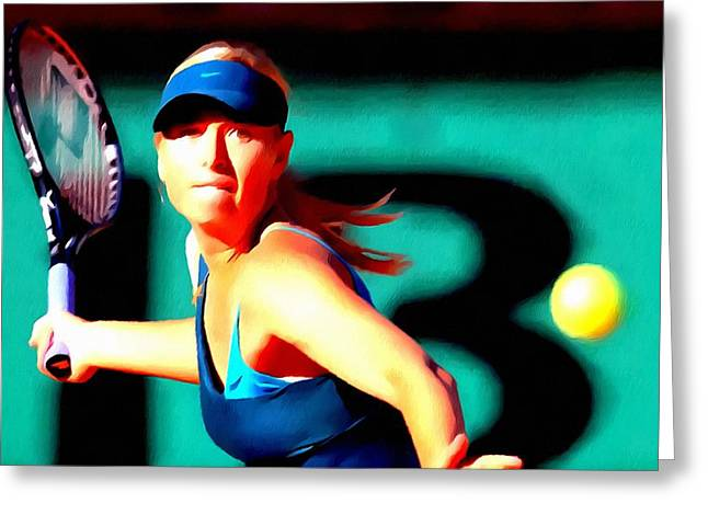 Editorial Paintings Greeting Cards - Maria Sharapova tennis Greeting Card by Lanjee Chee
