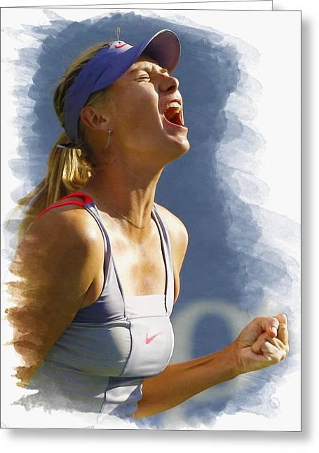 Wta Tennis Greeting Cards - Maria Sharapova - US Open 2011 Greeting Card by Don Kuing