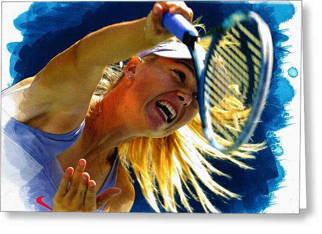 Wta Greeting Cards - Maria Sharapova  in action during the womens singles  Greeting Card by Don Kuing