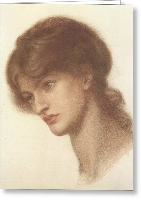 Romanticism Drawings Greeting Cards - Maria Spartali Mrs. Stillman or  A Study for Dantes Dream at the Time of the Death of Beatrix Greeting Card by Philip Ralley