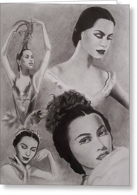 Ballet Dancers Drawings Greeting Cards - Maria Tallchief Greeting Card by Amber Stanford