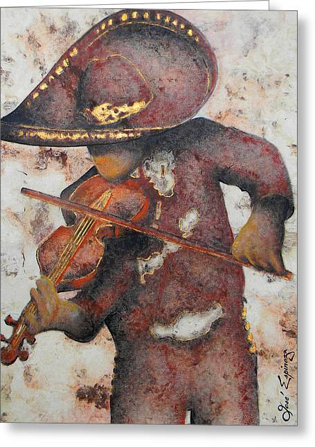 Amate Bark Paper Greeting Cards - Mariachi I Greeting Card by Jose Espinoza