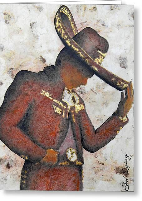 Amate Bark Paper Greeting Cards - Mariachi  Ii Greeting Card by Jose Espinoza
