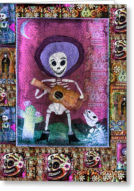 Apparel Mixed Media Greeting Cards - Mariachi Musician Guitar Player with dog Greeting Card by Wild Colors