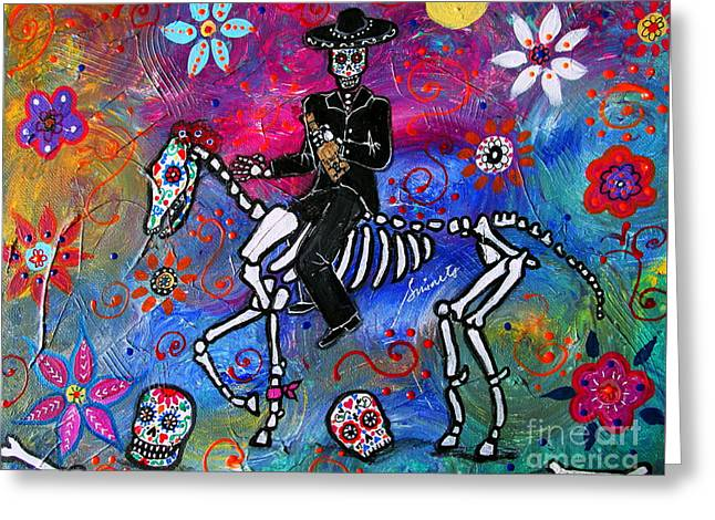 Lovers Of The Sun Greeting Cards - Mariachi Rider Greeting Card by Pristine Cartera Turkus