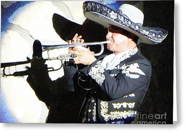 Cowboy Outfit Greeting Cards - Mariachi Shadow Greeting Card by Rachel Munoz Striggow