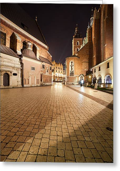 Polish Old Town Greeting Cards - Mariacki Square at Night in the Old Town of Krakow Greeting Card by Artur Bogacki