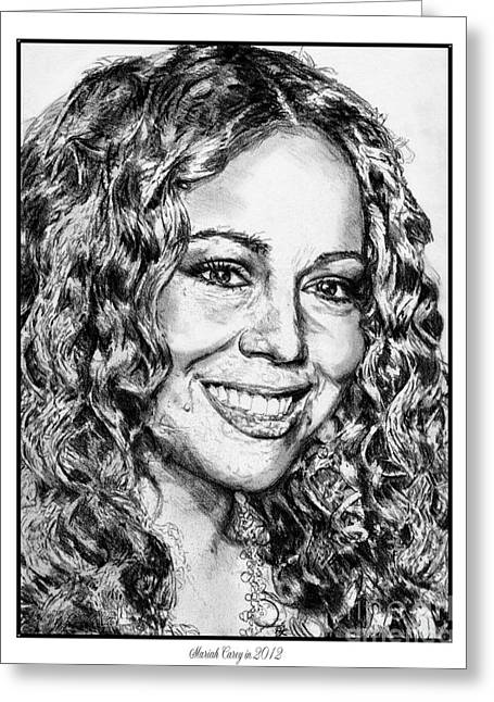 60 Inches Drawings Greeting Cards - Mariah Carey in 2012 Greeting Card by J McCombie