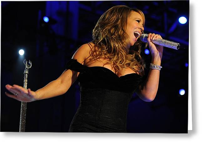 Live Music Greeting Cards - Mariah Carey in Concert 2009 Greeting Card by Mountain Dreams