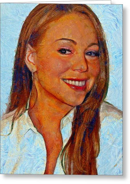 Mariah Carey Paintings Greeting Cards - Mariah Carey Greeting Card by Nikola Durdevic