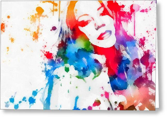 Recently Sold -  - Pop Mixed Media Greeting Cards - Mariah Carey Watercolor Paint Splatter Greeting Card by Dan Sproul