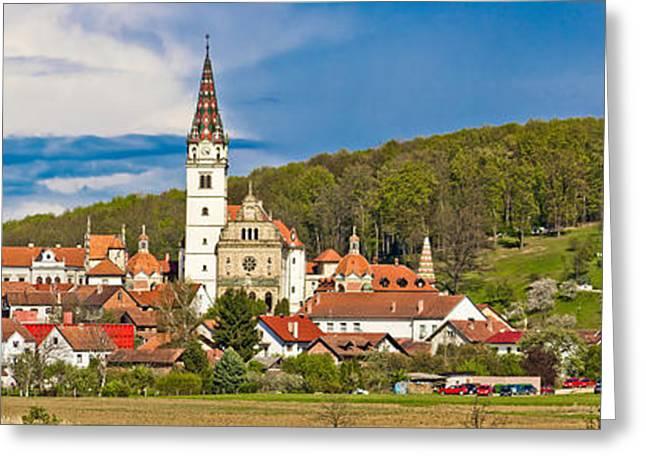Bistrica Greeting Cards - Marian shrine Marija bistrica panoramic view Greeting Card by Dalibor Brlek