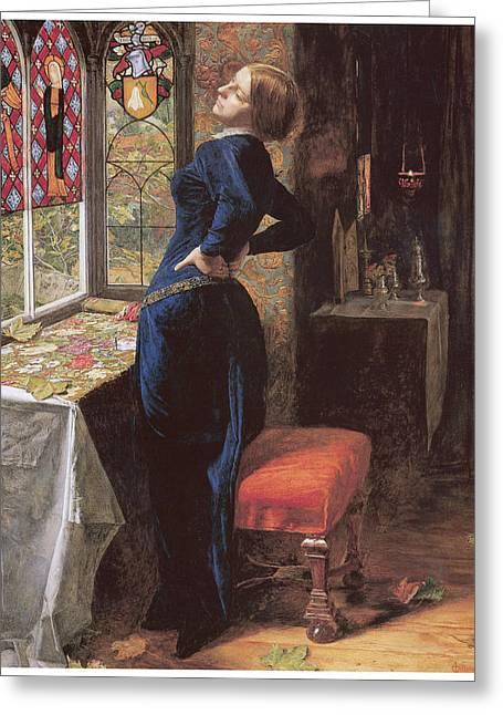 Mariana Greeting Cards - Mariana Greeting Card by John Everett Millais