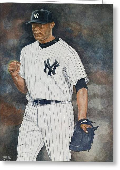 Mariano Rivera Greeting Cards - Mariano Greeting Card by Nigel Wynter
