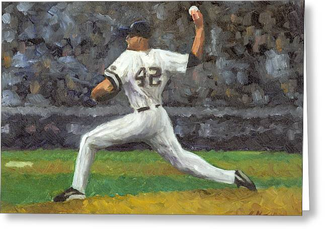 Bronx Bombers Greeting Cards - Mariano Rivera Greeting Card by Joe Maracic