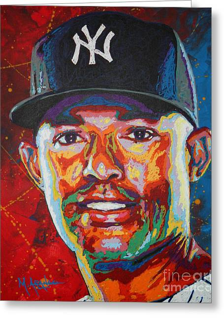 League Paintings Greeting Cards - Mariano Rivera Greeting Card by Maria Arango