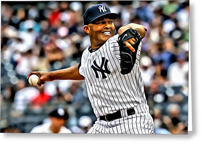 Mariano Rivera Greeting Cards - Mariano Rivera Painting Greeting Card by Florian Rodarte
