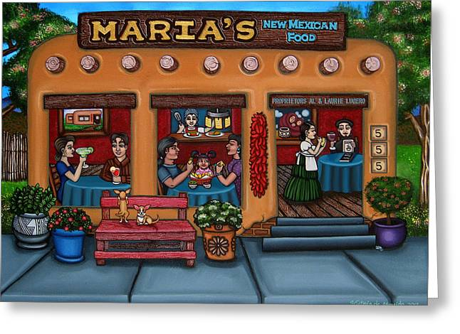 New Mexican Greeting Cards - Marias New Mexican Restaurant Greeting Card by Victoria De Almeida