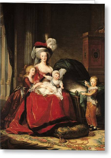 Cushion Paintings Greeting Cards - Marie Antoinette and her Children Greeting Card by Elisabeth Louise Vigee-Lebrun
