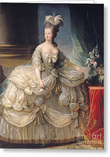 Austria Paintings Greeting Cards - Marie Antoinette Queen of France Greeting Card by Elisabeth Louise Vigee-Lebrun