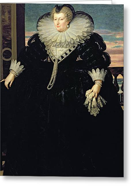 Full-length Portrait Greeting Cards - Marie De Medici 1573-1642 Queen Of France, 1617 Oil On Canvas Greeting Card by Frans II Pourbus