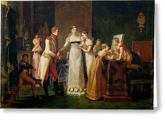 Marie-louise Of Austria Bidding Farewell To Her Family In Vienna Greeting Card by Pauline Auzou