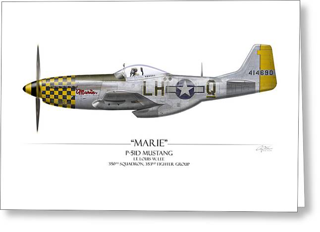 Aircraft Artwork Greeting Cards - Marie P-51 Mustang - White Background Greeting Card by Craig Tinder