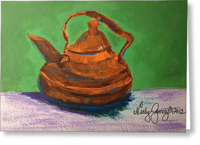 Neely Greeting Cards - Maries Teapot Greeting Card by Jo Anne Neely Gomez