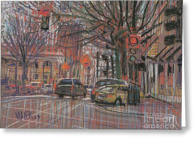 Traffic Drawings Greeting Cards - Marietta Square Greeting Card by Donald Maier