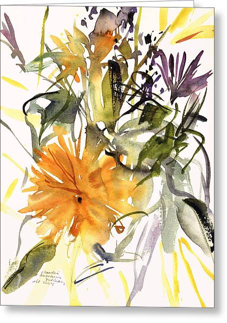 Contemporary Art Paintings Greeting Cards - Marigold and Other Flowers Greeting Card by Claudia Hutchins-Puechavy
