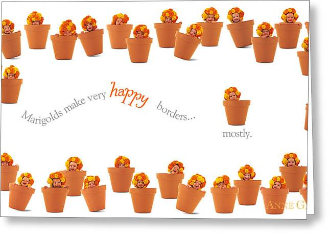 Words Photographs Greeting Cards - Marigold Babies Greeting Card by Anne Geddes