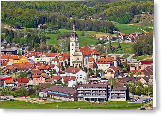 Bistrica Greeting Cards - Marija Bistrica church aerial view  Greeting Card by Dalibor Brlek