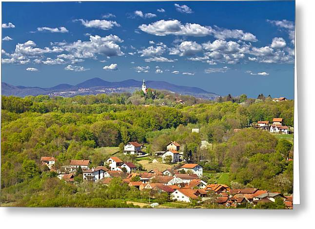 Bistrica Greeting Cards - Marija Bistrica green nature of Zagorje Greeting Card by Dalibor Brlek