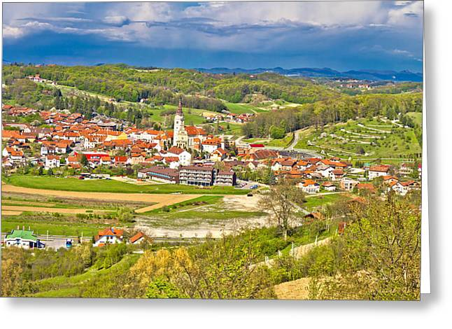 Bistrica Greeting Cards - Marija Bistrica shrine aerial panorama Greeting Card by Dalibor Brlek