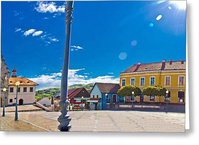 Bistrica Greeting Cards - Marija Bistrica square colorful panorama Greeting Card by Dalibor Brlek