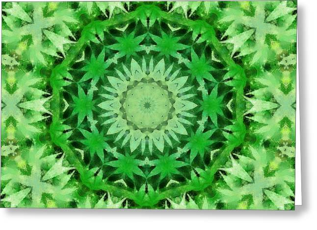 Ganja Greeting Cards - Marijuana Kaleidoscope Poster Greeting Card by Dan Sproul