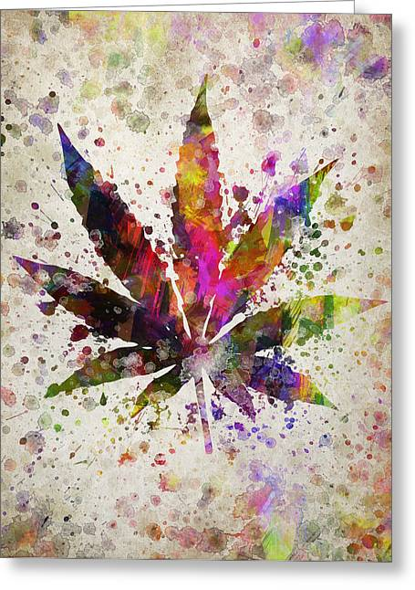 Smoking Greeting Cards - Marijuana Leaf in Color Greeting Card by Aged Pixel