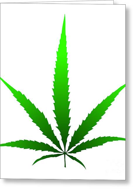 Narcotics Greeting Cards - Marijuana Leaf Greeting Card by Michal Boubin