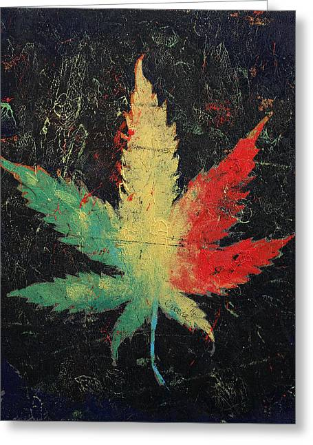 Trippy Greeting Cards - Marijuana Greeting Card by Michael Creese