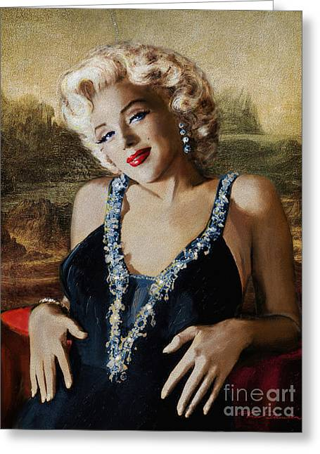 Classic Hollywood Paintings Greeting Cards - Marilyn 126 Mona LIsa Greeting Card by Theo Danella
