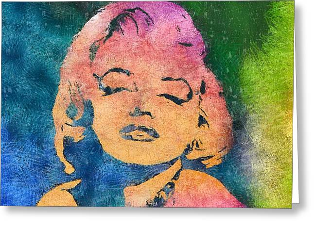 Hair Styles Mixed Media Greeting Cards - Marilyn 5 Greeting Card by Dan Sproul