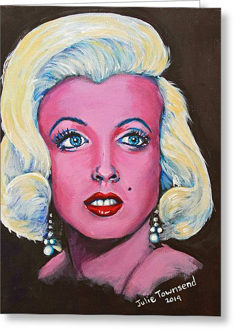 Birthmark Greeting Cards - Marilyn a Vision in Pink Greeting Card by Julie Townsend
