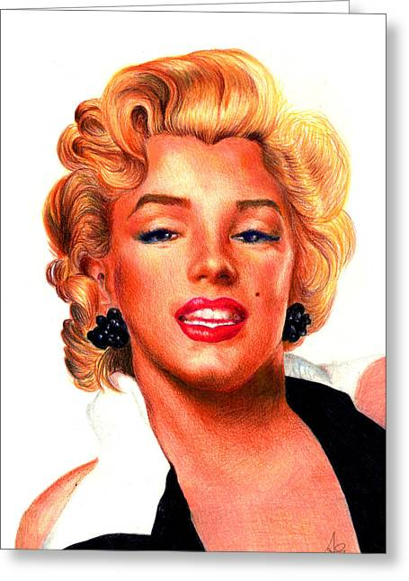 Actors Pastels Greeting Cards - Marilyn Greeting Card by Alessandro Della Pietra